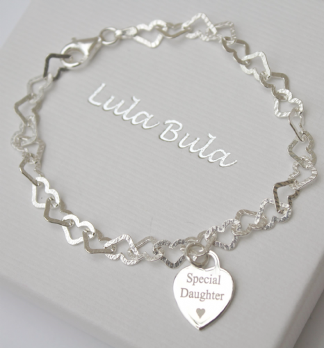 Sterling silver engraved gift  charm bracelet - FREE ENGRAVING